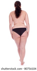 standing back fat young woman in black panties