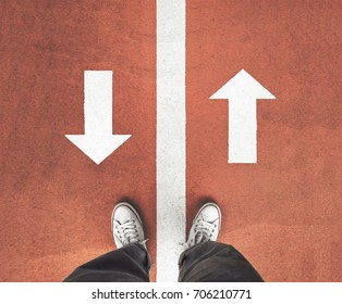 standing between the line and think to moving forward or go back