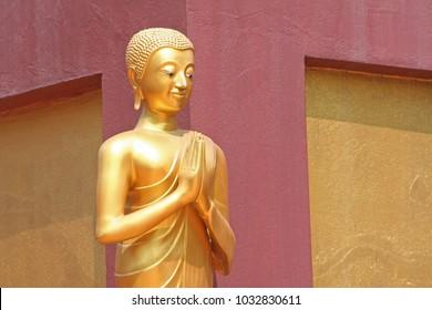 Standing Buddha image at doi ti temple, Lumphun ,Thailand