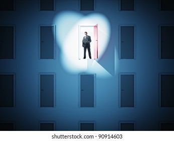 standing businessman and 3d doors