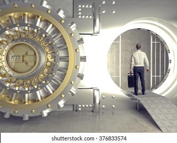 standing businessman look in bank vault