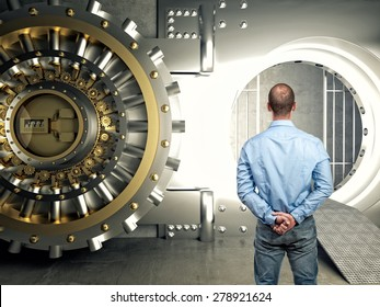 standing businessman look modern vault