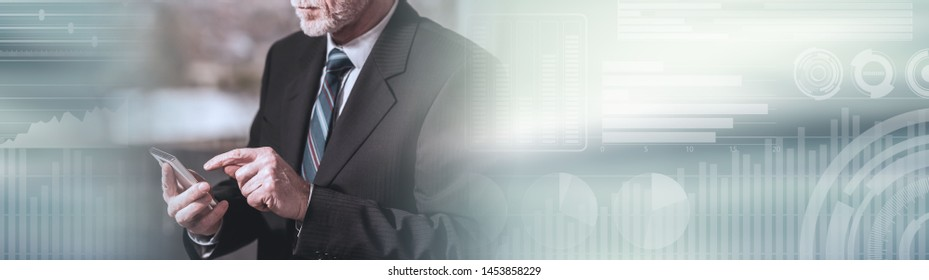 Standing businessman using mobile phone; panoramic banner