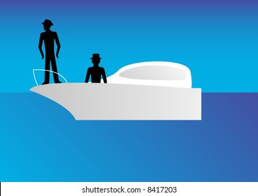 standing businessmen walkway signs on boat