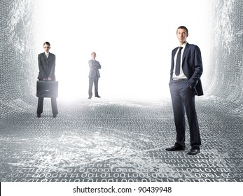 standing businesspeople in virtual world