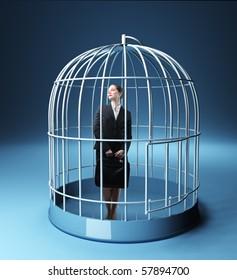 standing businesswoman in a 3d birdcage