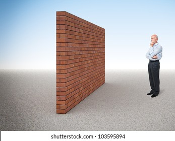 standing caucasian old man and 3d brick wall