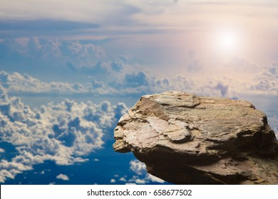 Standing empty on top of a mountain view, Blank space cliff edge with on clouds blue sky