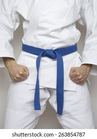 standing fighter blue belt martial arts white suit