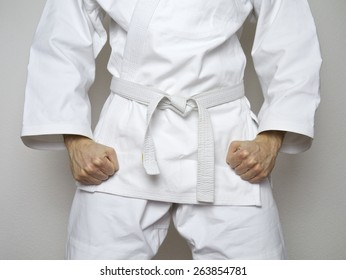standing fighter white belt centered martial arts white suit