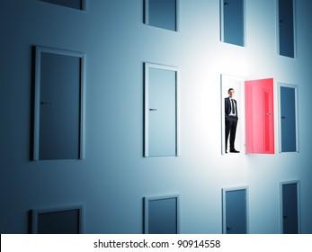 standing man and 3d doors