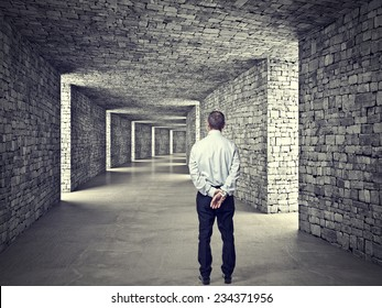 standing man and 3d stone tunnel
