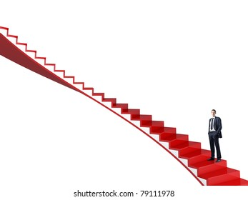 standing man on red 3d stair