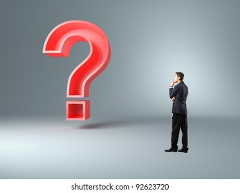 standing man and question mark