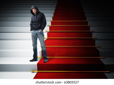 standing man and red carpet stair 3d