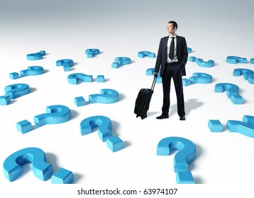 standing man with suitcase and 3d question mark background