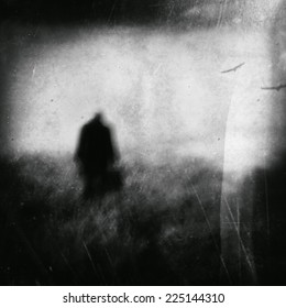 standing man,depression and pain, black and white photography