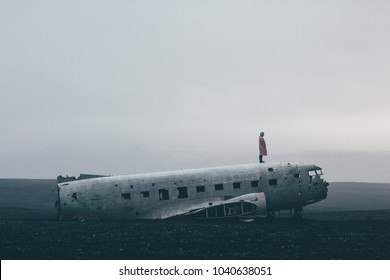 Standing on Abandoned Plane in Iceland