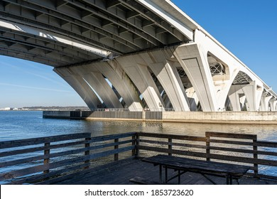 Standing on a dock, looking up beneath the Woodrow Wilson Bridge, which spans the Potomac River between Alexandria, Virginia and Prince George's County, Maryland.