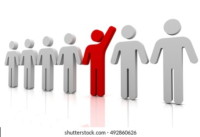standing out from the crowd concept  3d illustration