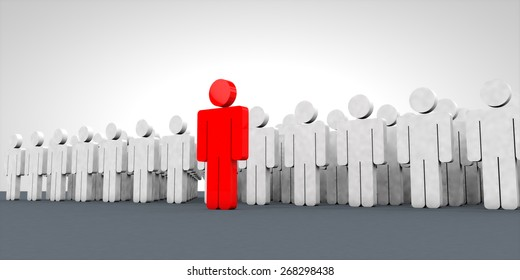 Standing out from the crowd or leader concept.