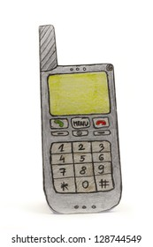 standing paper drawing old type mobile phone