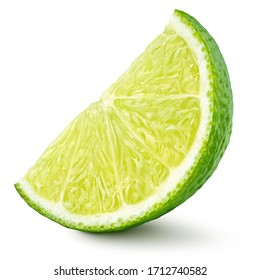 Standing ripe slice of lime citrus fruit isolated on white background with clipping path. Full depth of field.