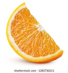 Standing ripe slice of orange citrus fruit isolated on white background