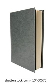 - a standing, slightly open black book; isolated on white background