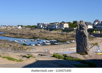 Standing stone, the Pierre Longue, at port of Batz-sur-Mer, a commune in the Loire-Atlantique department in western France. The town lies between the Bay of Biscay and its salt marshes.