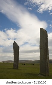 Standing stone of Stennes in sunlight, Orkney, Scotland