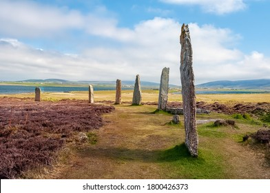 Standing Stones of Stenness dates from at least 3100BC and are part of the Heart of Neolithic Orkney UNESCO World Heritage Site, Scotland, UK - Shutterstock ID 1800426373
