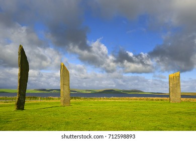 Standing stones of Stenness, a neolithic henge monument on the Isle of Orkney, Scotland UK near the Ring of Brodgar and Maeshowe – Part of the Heart of Neolithic Orkney – World Heritage Site