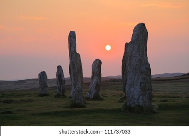 Standing stones and sunset in Callanais