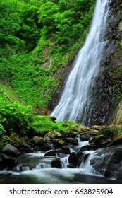 Standing or Valley of the summer waterfall