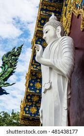 Standing White Buddha at Modern Thai Church, Thailand