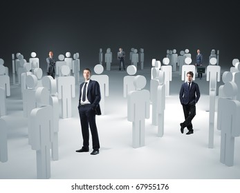 standing worker and 3d model virtual team