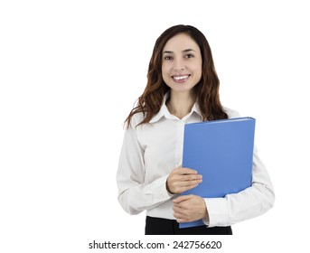 Standing young business woman holding a folder