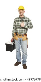 standing young caucasian manual worker on white background