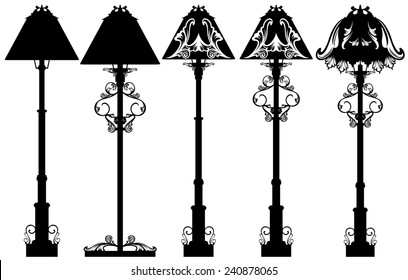 standlamp black and white design set - detailed floor lamp silhouettes