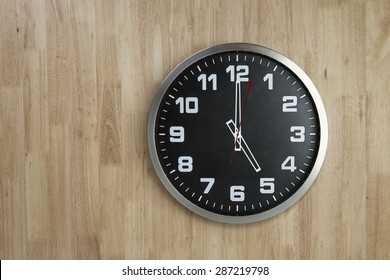 Standless Clock on Wooden Background, 5 O'Clock