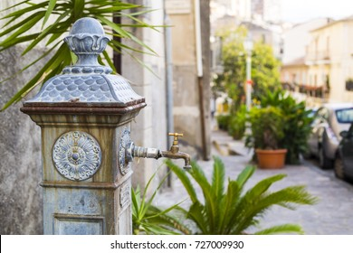 A standpipe on the street in Pizzo Calabro, Italy / View of Pizzo (Calabria region)