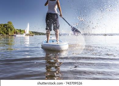 Standup-Paddling at a beautiful lake