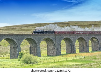 Stanier steam locomotive on Garsdale viaduct on the Settle to Carlisle line