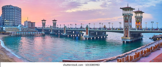 The Stanley bridge is the main landmark of the same named neighborhood, famous for its scenic sand beach, especially beautiful on sunset, Alexandria, Egypt.