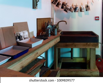 STANLEY, COUNTY DURHAM/UK - JANUARY 20 : Inside of an old photography darkroom at the North of England Open Air Museum in Stanley, County Durham on January 20, 2018