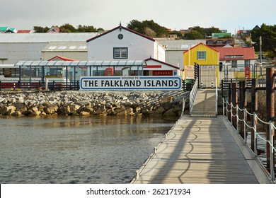 STANLEY, FALKLAND ISLANDS - FEBRUARY 13, 2015: Jetty used by visitors arriving by sea in Stanley, capital of the Falkland Islands.
