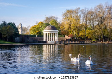 Stanley Park, Blackpool, Bandstand in Autumn Sunlight with swans and lake