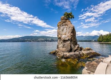 Stanley Park Seawall and Siwash Rock in Vancouver, British Columbia, Colorado