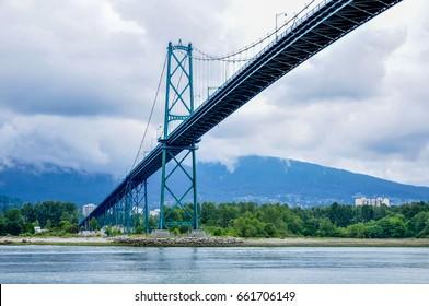 Stanley Park. Vancouver, British Columbia, Canada - June 2016 - Lions Gate Bridge
